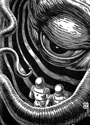 On the edge of the galaxy by Virgil Finlay