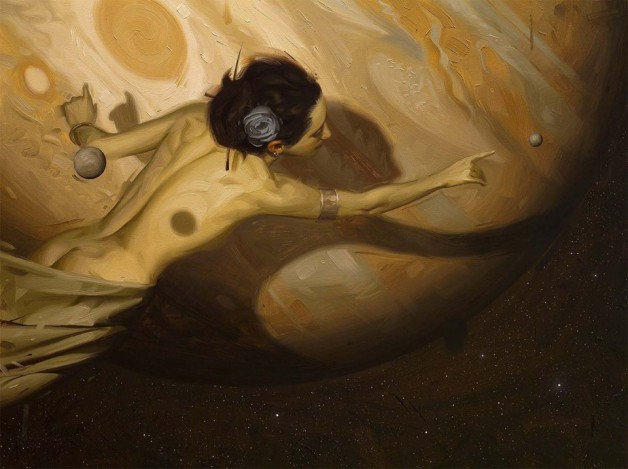 Woman in front of Jupiter
